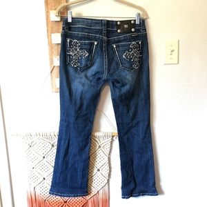Miss Me Bootcut Cross Pockets Jeans HEMMED